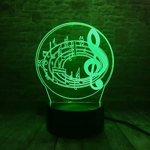 Wangzj wunderbare musiknote 3d 7 farbverlauf tisch schreibtisch nacht schlafen dekor kind kinder weihnachten neujahr spielzeug geschenke/lava wirkung touch