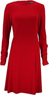 Lauren Ralph Lauren Women's Ruched Long Sleeves Dress (8P, Orient Red)