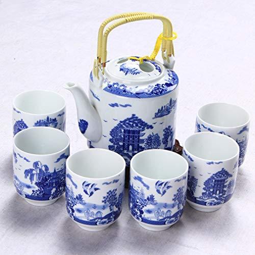 CUPWENH Tasse De Thé De Café en Céramique Cup 1Pot + 6Cups Bleu Et Blanc Thé en Porcelaine Set Céramique Chinois Kung Fu Bouilloire Porcelaine Drinkware Fleur Lotus