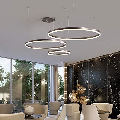 Kiod Kronleuchter Ringe Loft Kronleuchter Hotel Hängelampe Leuchte Gold Bronze Wohnzimmer O-Form Ring Lampe 60 + 80 cm Kaffee