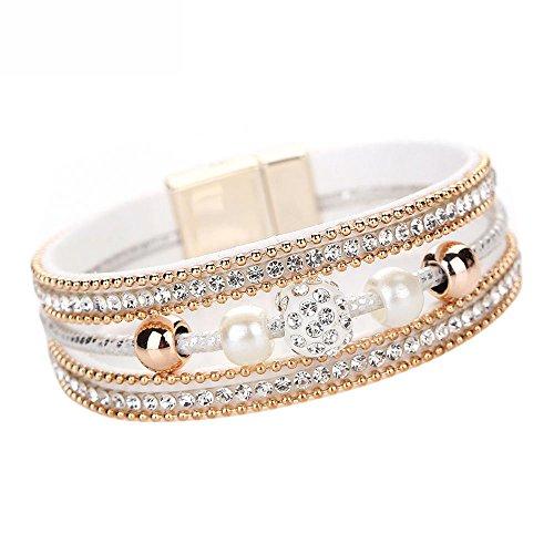 WooCo Mehrschichtiges Armband Leder Kristall Perlen Armband Charm Armband für Frauen Geschenk Sale Damen Armreif(White)