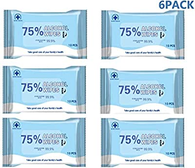 6 Pack Portable Disinfection Wipes Moist Wipes with 75% Alcohol for Deep Cleaning Hands, Tables, Chairs, Toys, doorknobs and Toilet mats seat,Best for Public Places by Fullsexy