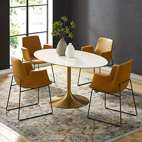 """Modway Lippa 60"""" Oval-Shaped Mid-Century Modern Dining Table with White Wood Top and Gold Base"""