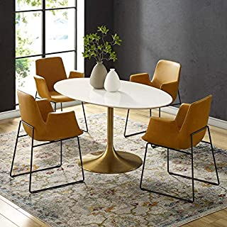 """Modway Lippa 60"""" Mid-Century Modern Dining Table with Oval Top in Gold White (B07M94QH6Y) 