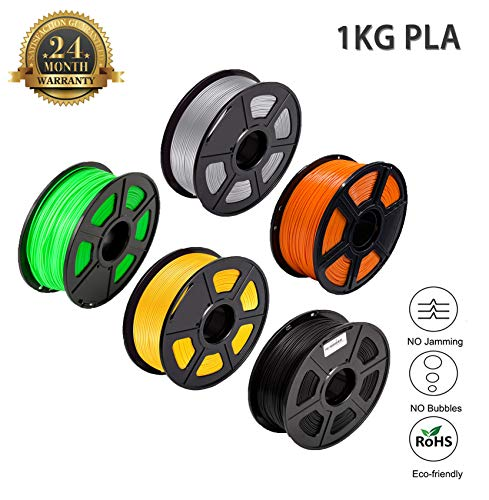 PLA Filament 1.75 PLA+ 3D Filament PLA Plus for 3D Printer & 3D Pens, PLA Filament Weight 2.2 LBS (1 KG), Printing Accuracy +/- 0.02 Eco Friendly (Grey, Orange, Green, Yellow, Black)