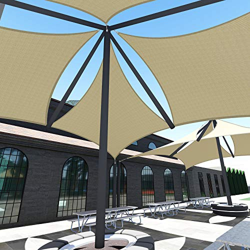 TANG Sunshades Depot A Ring Design Steel Cable Wire Reinforcement Sun Shade Sails 22' x 23 ' Rectangle Sand Heavy Duty Permeable 260 GSM