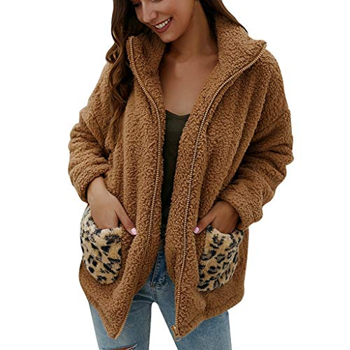 ZHANSANFM Plüschjacke Damen Langarm Einfarbig Wintermantel mit Leopard Taschen Weichem Teddy-Plüsch Outwear Faux Pelz Fleece Revers Mantel Mode Beiläufige Winterjacke Steppjacke (L, Khaki)