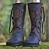 LOSTISY Large Size Keep Warm Buckle Mid Calf Boots Black / 7
