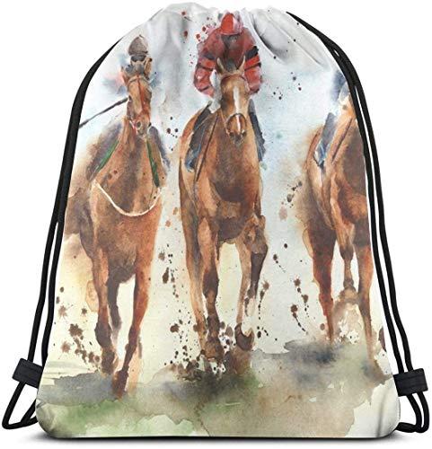 KINGAM Mochila de almacenamiento Race Riding Sport Watercolor Gym Sack Bag Mochila con cordón para hombres y mujeres Mochila de viaje escolar