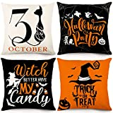 YGEOMER Halloween Pillow Covers 18x18 Set of 4 Trick or Treat Pumpkin Witch Cat Halloween Decoration Hug Throw Pillow Covers for Sofa Couch