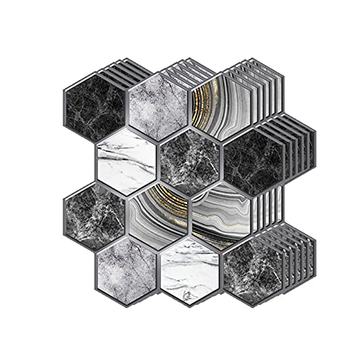 LFHCW 3D Decorativos Adhesivos para Azulejos Pegatina de Pared Engrosado, Azulejos de Gel, Efecto 3D, Cenefa Autoadhesivo, para Baño, Cocina, Sala de Estar y Habitación,30 x 30CM(Color:C,Size:40pcas