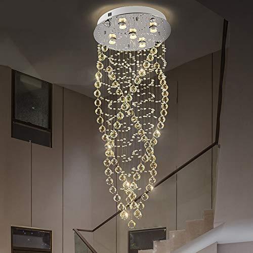 The only good quality Interior Cristal Cristal Lámpara Moderna Simple Escalera De Caracol De Luz LED De Luz De La Manera Creativa Salón Comedor Luz 5 De Luz 50 * 130cm