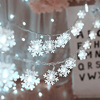 KAILEDI. Christmas String Lights, 16 ft 40 LED Fairy Lights Battery Operated Waterproof for Xmas Garden Patio Bedroom Party Decor Indoor Outdoor Celebration Lighting, Warm White (Snowflake)
