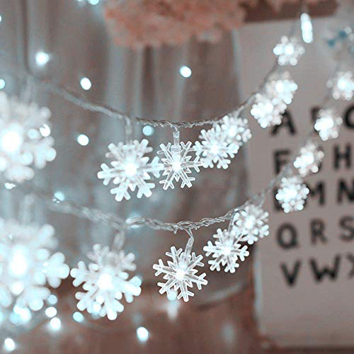 MILEXING Christmas Lights Snowflake String Lights 196 ft 40 LED Fairy Lights Battery Operated Waterproof for Xmas Garden Patio Bedroom Party Decor Indoor Outdoor Celebration Lighting