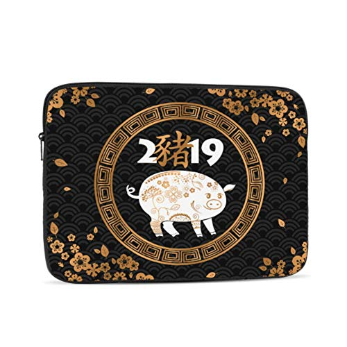 MacBook Pro 2017 Accessories Happy New Year Twelve Chinese Zodiac Pig Mac Book Pro Cover Multi-Color & Size Choices 10/12/13/15/17 Inch Computer Tablet Briefcase Carrying Bag