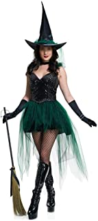 New Halloween Sexy Witch Costumes Adult Women Queen Carnival Party Cosplay Fancy Dress (Color : Green, Size : M)