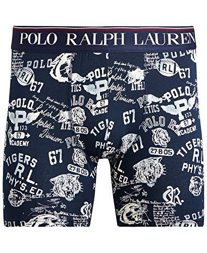 Polo Ralph Lauren - Calzoncillos de algodón elástico para hombre, Estampado universitario azul marino., Medium