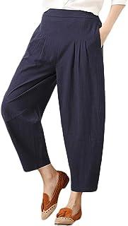 48ee5acebea Sylar Pantalones Mujer Tallas Grandes Elegantes,Retro Simple Color Sólido  Algodón+Lino Suelto Cómodo
