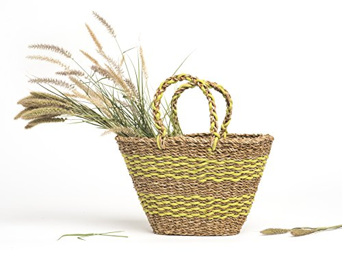 Fab Habitat Seagrass Storage Basket Set | Wicker Pattern Baskets, Strong Handles | Organizer For Blankets, Towels, Pillows, Toys, Laundry, Baby, Kids, Home Décor | Harlem - 2 Set