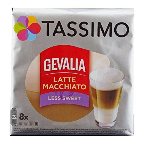Tassimo Gevalia Latte Macchiato Less Sweet, Weniger Süß, Gemahlener Röstkaffee, Kaffeekapsel, 8 T-discs