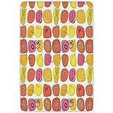 FANCYDAY Alfombra de baño Alfombrilla, Frutas, Retro Piña Limón Kiwi Frambuesa Pop Art Iconos Modernos de Alimentos Caricatura Gráfico, Multicolor, Franela Microfibra