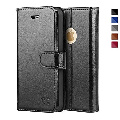 OCASE iPhone 5S Hülle, Handyhülle iPhone SE (1.Gen 2016) Tasche Flip Case Cover Schutzhülle [Premium Leder] [Standfunktion] [Kartenfach] [Magnetverschluss] für iPhone 5S SE (1.Gen 2016) 5 Schwarz