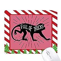 黒猿動物のシルエットのナチュラル ゴムクリスマスキャンディマウスパッド
