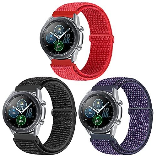 KIBDSNG 22 mm pulsera compatible con Samsung Galaxy Watch 3 45 mm/Galaxy Watch 46 mm, correa de reloj de pulsera de nailon ajustable para Huawei Watch GT/GT2 46 mm/Gear S3 Frontier, 22mm, Nailon.,