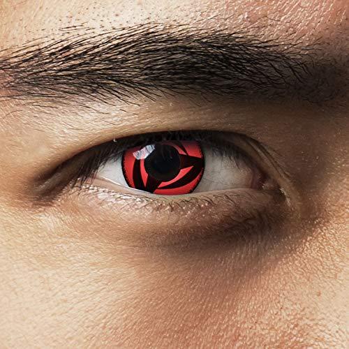 aricona Kontaktlinsen - Sharingan Kontaktlinsen Kakashi´s Mangekyou - Farbige Kontaktlinsen ohne Stärke für Cosplay, Karneval, Fasching, Motto-Partys und Halloween Kostüme, 2 Stück