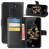 HualuBro Cover LG K8, Flip Case in PU Pelle Premium Portafoglio Cover [Funzione Stand] [Slot Carte] Leather Wallet Phone Custodia per LG Escape 3 / LG Phoenix 2 / LG K8 2016 (Nero)