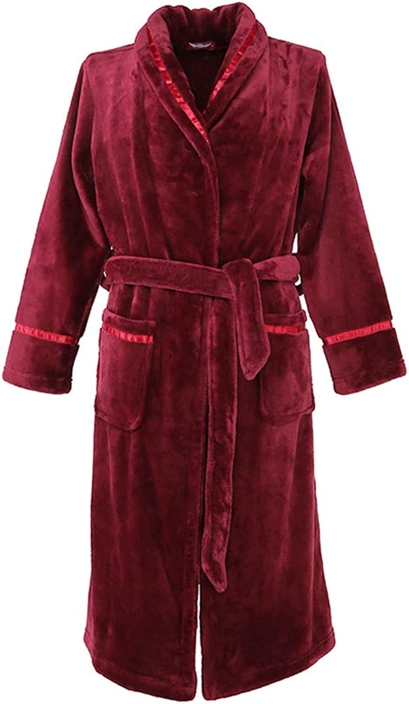 Long Bathrobe Thick Flannel Bathrobe Shawl Bath Towel Pajamas Strong Absorbent SkinFriendly Bathing Suit   Ladies   Red (Size   XXL)