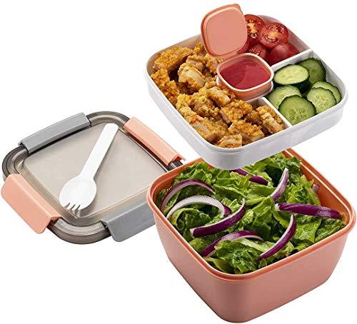 MUJUZE Lunch Box microonde, separe divisorio Interno Porta Pranzo Box Adulti/Bambini, sostenibile a Prova di perdite schiscetta Pranzo, bento Box per Gite Scolastiche/Ufficio/Picnic