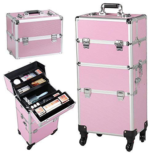 Yaheetech 3 in 1 Friseurkoffer Alu Kosmetikkoffer Trolley Beautycase Koffer Trolley mit Schlösser und Tragegurt Pink