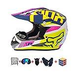 CJBYYBF Casco bambino moto, Con design Freddo casco bambino cross Certificato D.O.T casco Standard per moto cross per bambini con occhialini, guanti, maschera. (H, M: 54-55 cm)