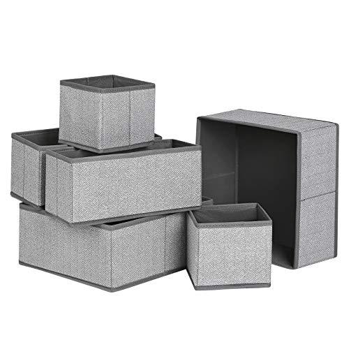 SONGMICS Aufbewahrungsboxen für Unterwäsche, 6er Set, Schubladen-Organizer, Stoffboxen, Aufbewahrungskörbe, Vliesstoff in Leinenoptik, Socken, Krawatten, Schals, grau RDZ006G01