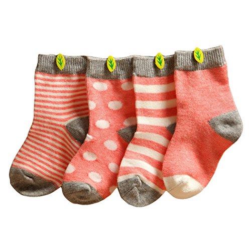 Happy Cherry Happy Cherry Vintage Baby Mädchen 4 Paar Socken Set Weich Baumwolle Süß und Lieblich Gepunkt Gestreift 0-36 Monate (Rosa, 0-6 Monate)