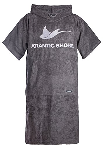 Atlantic Shore | Surf Poncho ➤ Bademantel/Umziehhilfe aus hochwertiger Baumwolle ➤ Grey - Long