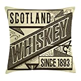 Ambesonne Man Cave Throw Pillow Cushion Cover, Whiskey Design Old Fashion Scotland Alcohol Retro Drink Taste Quality, Decorative Square Accent Pillow Case, 16' X 16', Chocolate Ivory