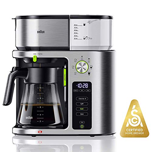Braun MultiServe Coffee Machine, 7 Programmable Brew Sizes / 3 Strengths + Iced Coffee, Glass Carafe (10-Cup), Stainless Steel, KF9070SI