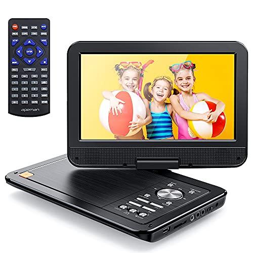 """APEMAN 12.5"""" Reproductor de DVD Portátil para el Coche 10.5""""Reproductor DVD con Pantalla Giratoria Soporta Tarjeta SD/USB/CD/DVD Batería Recargable con Mando a Distancia"""