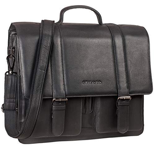 STILORD 'Marius' Klassische Lehrertasche Leder Schultasche XL groß Aktentasche zum Umhängen Businesstasche Laptoptasche echtes Rindsleder, Farbe:schwarz