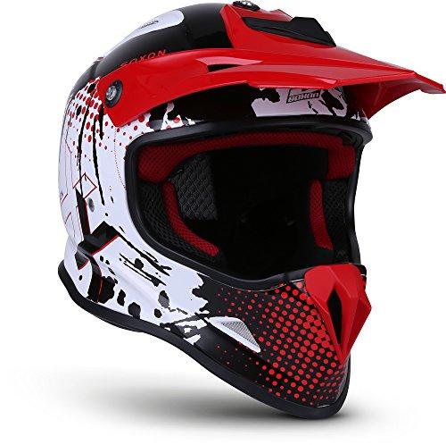 "SOXON® SKC-33 ""Fusion White Red"" · Kinder Cross-Helm · Motorrad-Helm MX Cross-Helm MTB BMX Cross-Bike Downhill Off-Road Moto-Cross · ECE 22.05 Schnellverschluss SlimShell Tasche XS (51-52cm)"