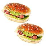 R STAR 2 Pcs Artificial Bread Fake Bread Simulation Food Model Kitchen Prop, Ham Bread