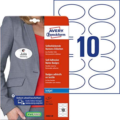 Avery Zweckform Namensetiketten (200 Namensaufkleber, 85x50 mm auf DIN A4, selbstklebend, bedruckbare Textiletiketten für Inkjetdrucker, rückstandsfrei ablösbar, oval, 20 Bogen J4882-20) weiß