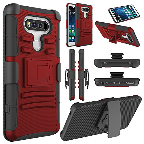 Elegant Choise LG V20 Case, LG V20 Holster Case, Heavy Duty Dual Layer Full Body Protective Kickstand Case Cover with Belt Clip Holster Case for LG V20 (Red/Black)