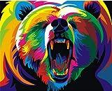 Colorido oso foto marco foto DIY pintura digital DIY pintura al óleo sobre lienzo decoración para el hogar arte de la pared