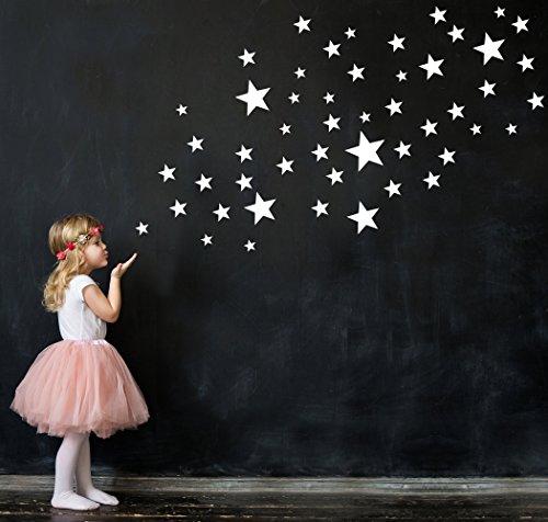 50 Sterne Wandtattoo fürs Kinderzimmer - Wandsticker Set - Pastell Farben, Baby Sternenhimmel zum Kleben Wandaufkleber Sticker Wanddeko - Wandfolie, Kleinkinder, Erstausstattung auf Rauhfaser Weiß
