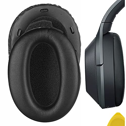 Geekria QuickFit Protein Leather Replacement Ear Pads for Sony WH1000XM2, MDR-1000X Headphones Earpads, Headset Ear Cushion Repair Parts (Black)