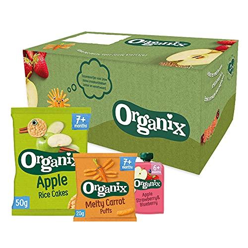 Organix Biologische Baby Snack Box (6+/7+mnd) - 24 st. – Verantwoorde tussendoortjes, snacks en knijpfruit – Geen zout toegevoegd