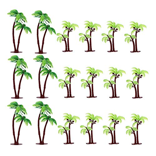 JANOU Palm Tree Cake Toppers Tropical Coconuts Cake Decor for Birthday Wedding Summer Luau Party Favors Pack 18pcs